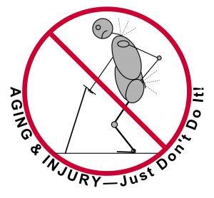 aging & injury, just don't do it - bent man with poor posture & pain - mindful medical massage - structural bodywork